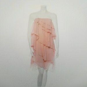 Pink Halston Heritage Silk Ruffle Dress